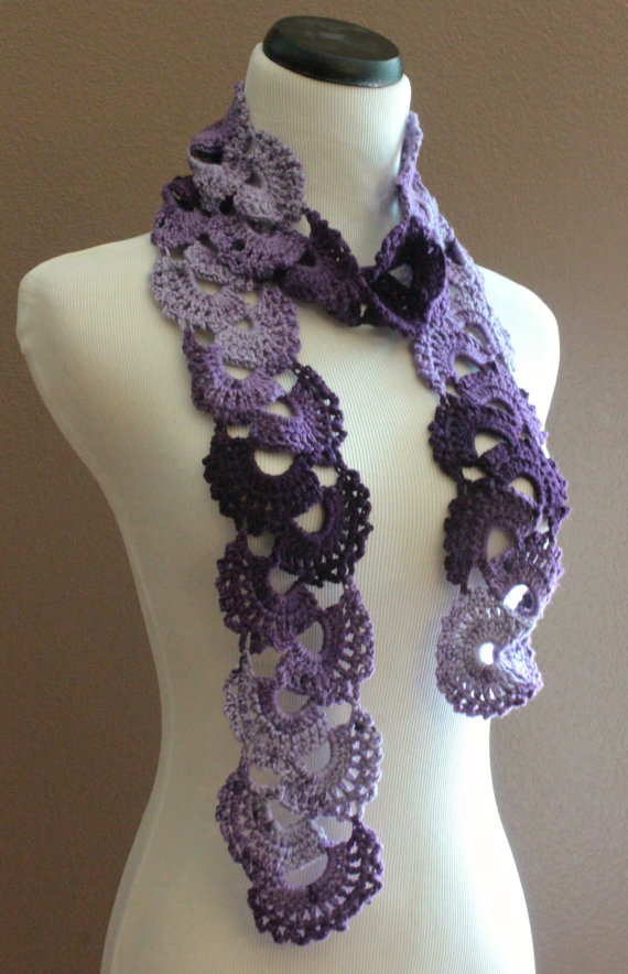 Crochet Scarf Queen Annes Lace Ombre Varigated Multicolor Purple on ...