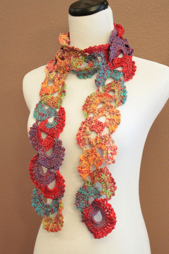 Crochet Scarf Queen Annes Lace Ombre Varigated Multicolor ...