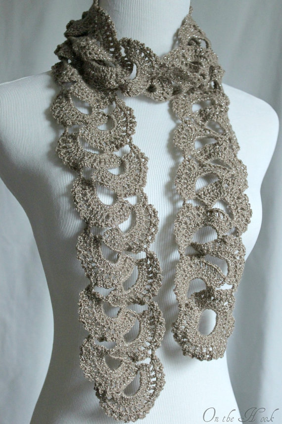 Crochet A Scarf : Crochet Scarf Queen Annes Lace Scarf Silver Taupe on Luulla