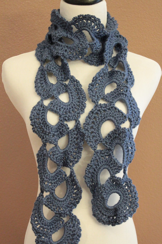 Crochet Scarf Chunky Queen Annes Lace Blue on Luulla
