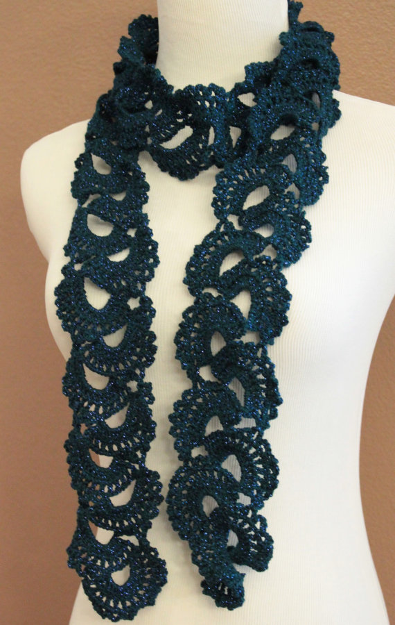 crochet scarf queen annes sparkle lace teal crochet scarf queen annes ...