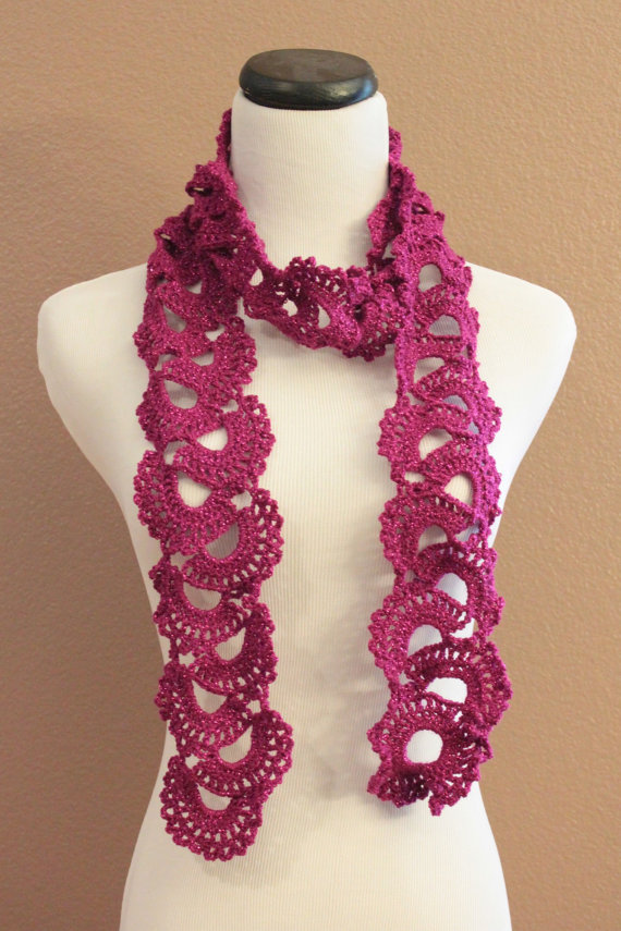 Magenta Womens Lace Scarf Crochet Queen Annes Lace Sparkle Fuscia on ...