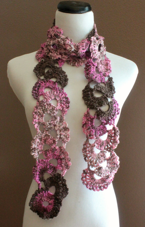 Crochet Queen Annes Lace Scarf Seashell Ombre Varigated Multicolor ...