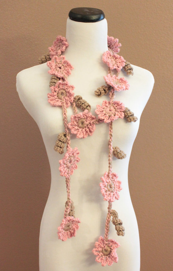 Crochet Flower Scarf Lariat Womens Fashion Pink And Brown ...
