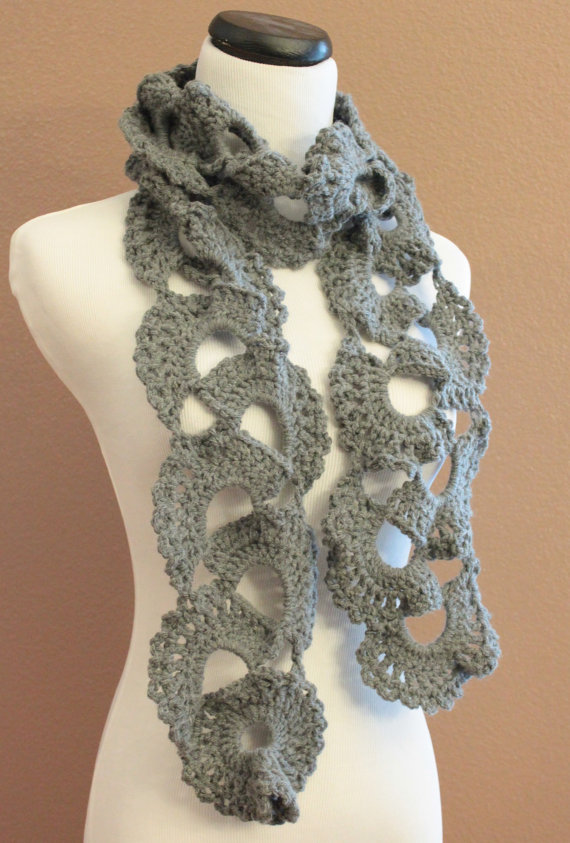 Crochet Scarf Queen Annes Lace Smokey Grey on Luulla