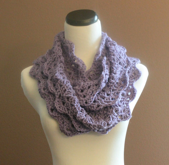 Chunky Crochet Infinity Scarf Lace Thick Cowl Neckwarmer ...